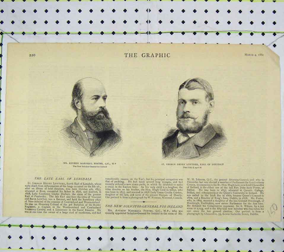 Print 1882 Portrait Andrew Porter George Henry Lowther 150B247 Old Original