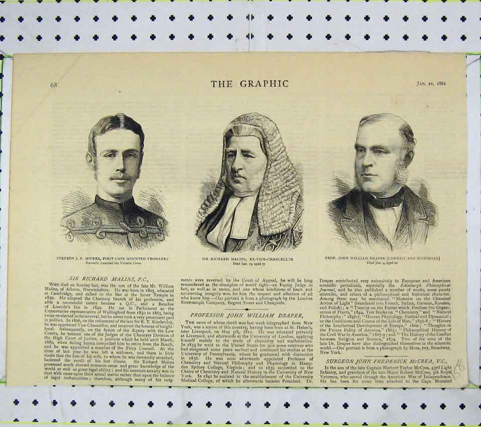 Print 1882 Surgeon Mccrea Richard Malins William Draper 158B247 Old Original
