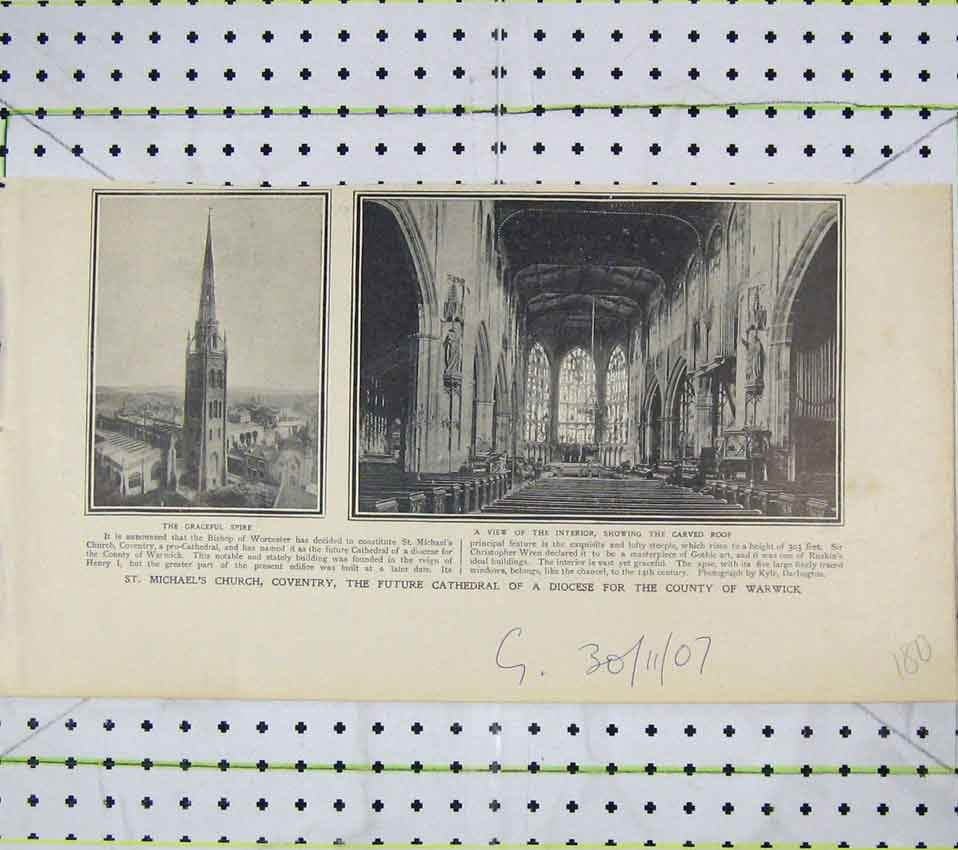 Print Interior Michael'S Church Coventry Cathedral Spire 180B247 Old Original