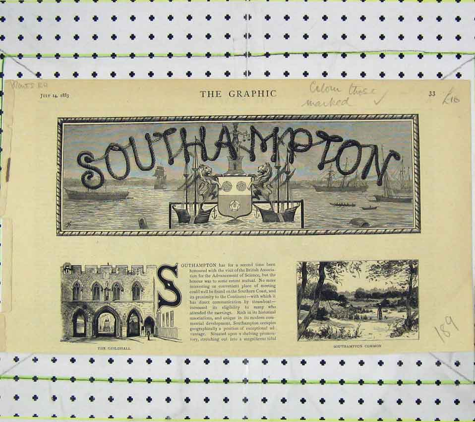 Print 1883 Southampton View Guildhall Common 189B247 Old Original