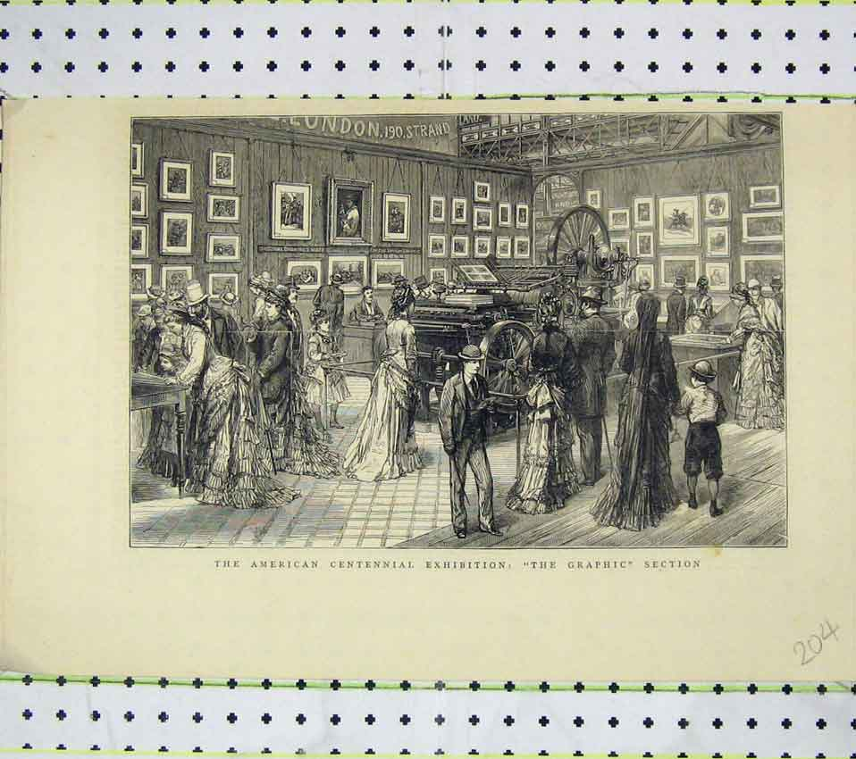 Print American Centennial Exhibition Graphic Section Machine 204B247 Old Original