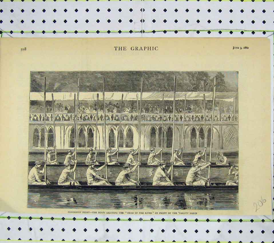 Print 1882 Procession Night Boats Saluting River Varsity 206B247 Old Original