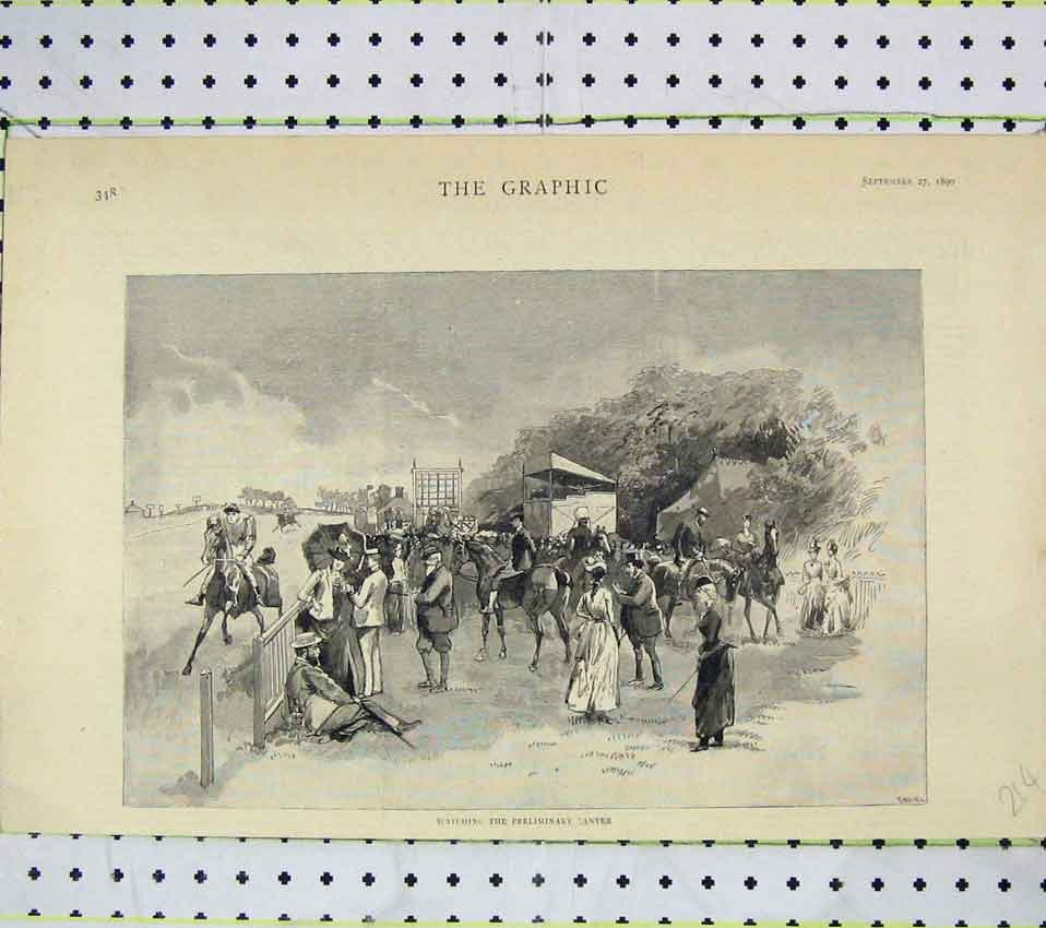 Print 1890 Watching Preliminary Canter Horse Racing 214B247 Old Original