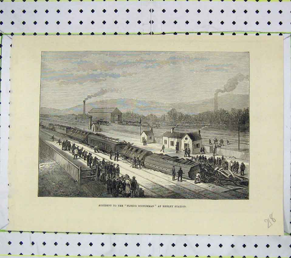 Print Scene Accident Flying Scotchman Heeley Station Train 218B247 Old Original
