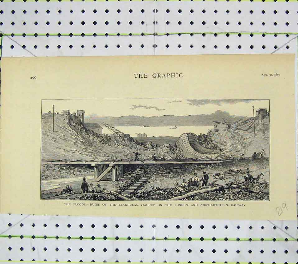 Print 1879 Floods Ruins Llandulas Viaduct London Railway 219B247 Old Original