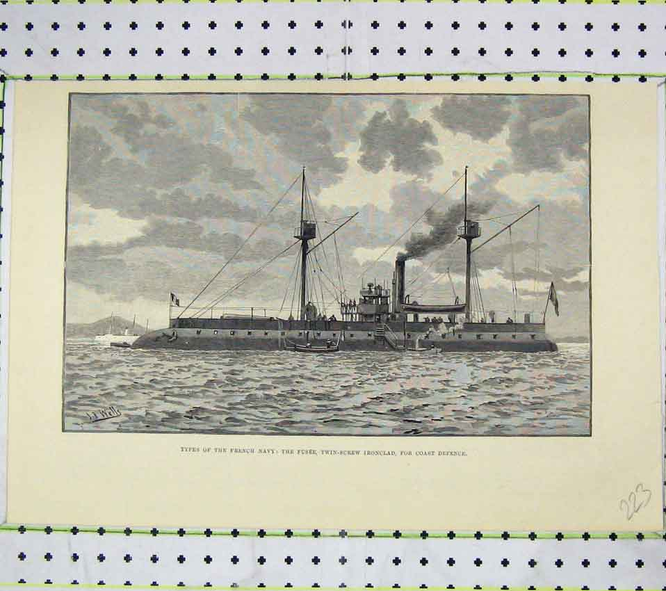 Print French Navy Ships Fusee Twin-Screw Ironclad Defence 223B247 Old Original