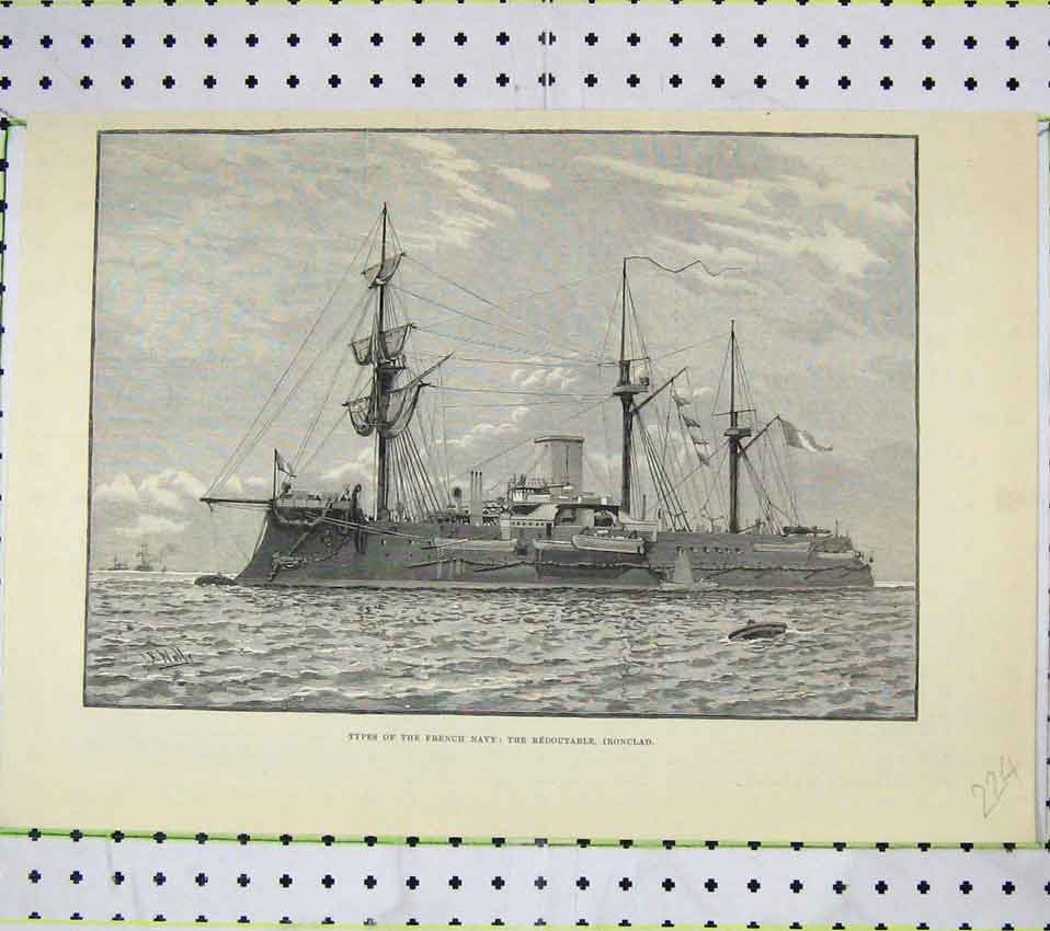 Print French Navy Ships Redoutable Ironclad 224B247 Old Original