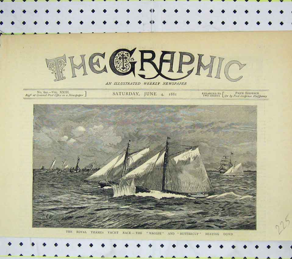 Print Royal Thames Yacht Race 1881 Maggie Buttercup Beating 225B247 Old Original