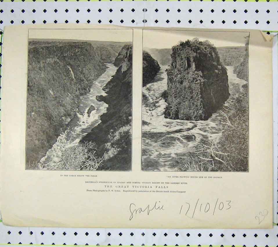 Print View Great Victoria Falls Zambesi River Zigzags Rocks 230B247 Old Original