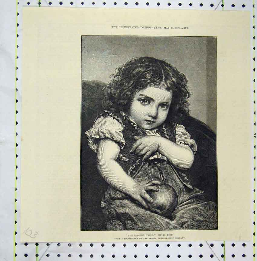 Print 1876 Portrait Spoiled Child Young Girl Ball 103B248 Old Original