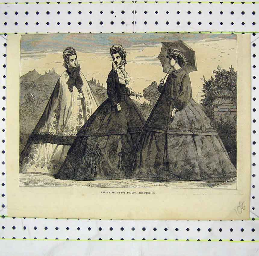 Print Paris Fashions August Women Beautiful Dresses 108B248 Old Original