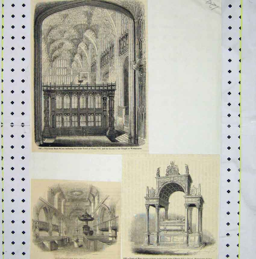 Print St Giles Cripplegate Tomb Mary Queen Scots Tomb Henry 124B248 Old Original