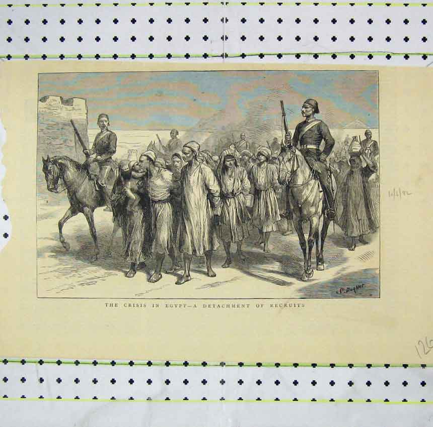 Print Crisis Egypt Detachment Recruits Soldiers Horses 126B248 Old Original