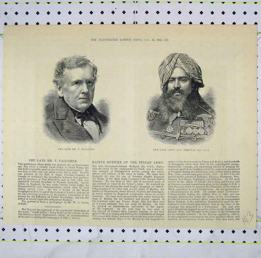 Print 1882 Portrait Late Mr Falconer Lieutenant Hedayat 143B248 Old Original
