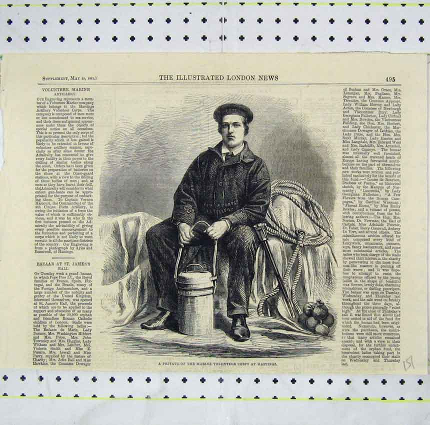 Print Private Marine Volunteer Corps Hastings1861 Man 151B248 Old Original