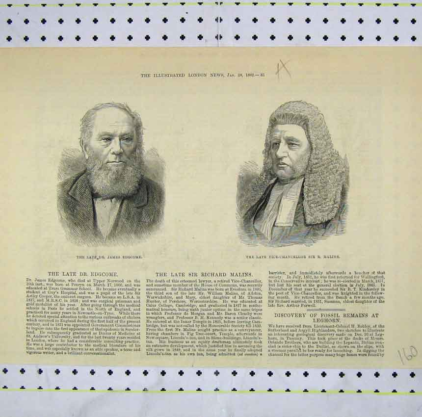 Print 1882 Portrait James Edgcome Vice-Chacellor Malins 160B248 Old Original