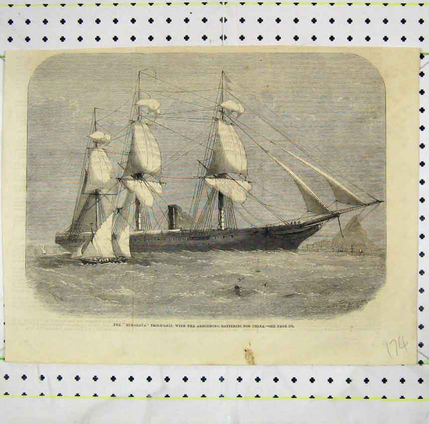 Print Himalaya Troop-Ship Armstrong Batteries China 174B248 Old Original