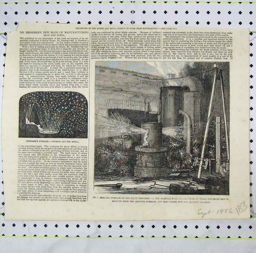Print Smelting Furnace Crude Iron Refinging Chamber Steel 183B248 Old Original