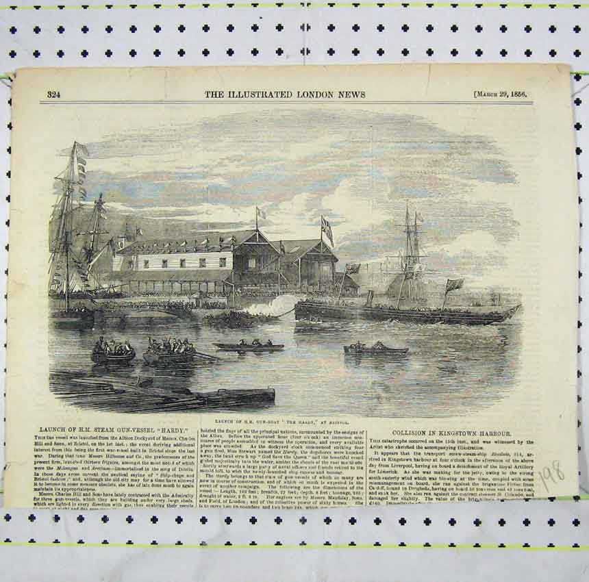 Print View Launch H. M Gun-Boat Hardy Bristol 1856 198B248 Old Original
