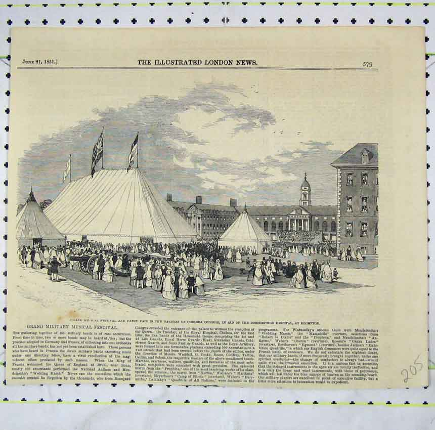 Print 1851 Music Festival Fancy Air Chelsea College Gardens 205B248 Old Original