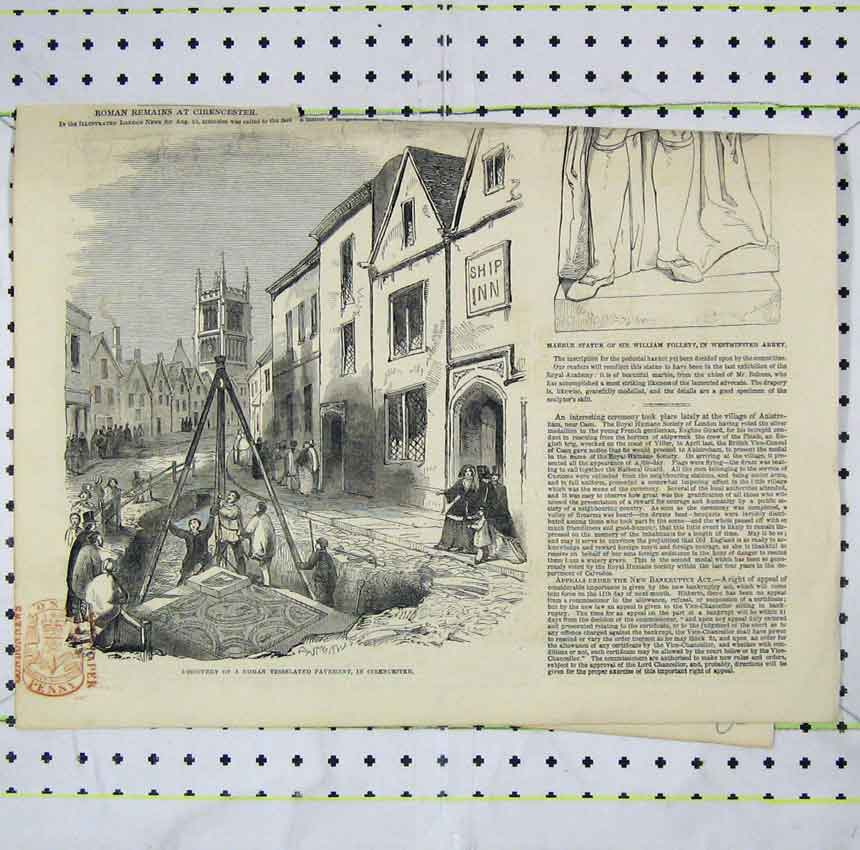 Print 1849 Discovery Roman Tesselated Cirencester Follett 208B248 Old Original