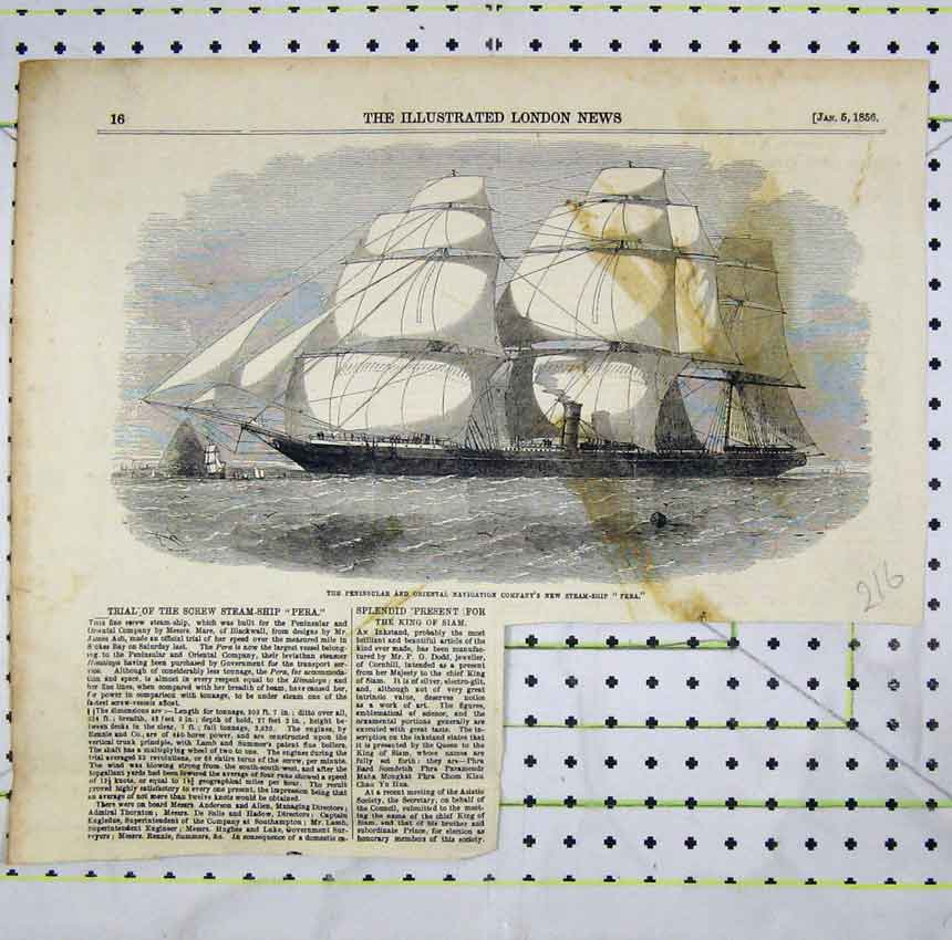 Print 1856 Penninsular Navigation Compant Steam Ship Pera 216B248 Old Original