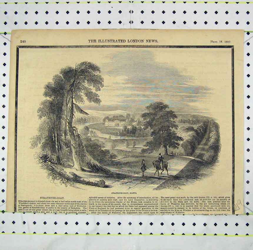 Print 1852 View Strathfieldsay Hants Country Scene 219B248 Old Original