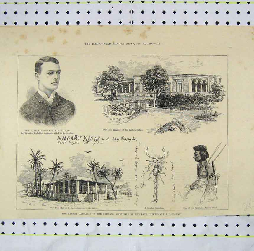 Print 1886 Recent Campaign Soudan Hut Halfa Amara Chief 243B248 Old Original