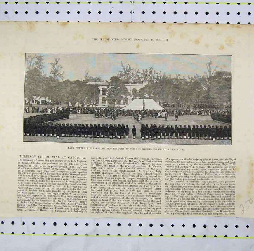 Print 1886 Lady Dufferin Presenting Colours Begal Infantry 250Ab248 Old Original