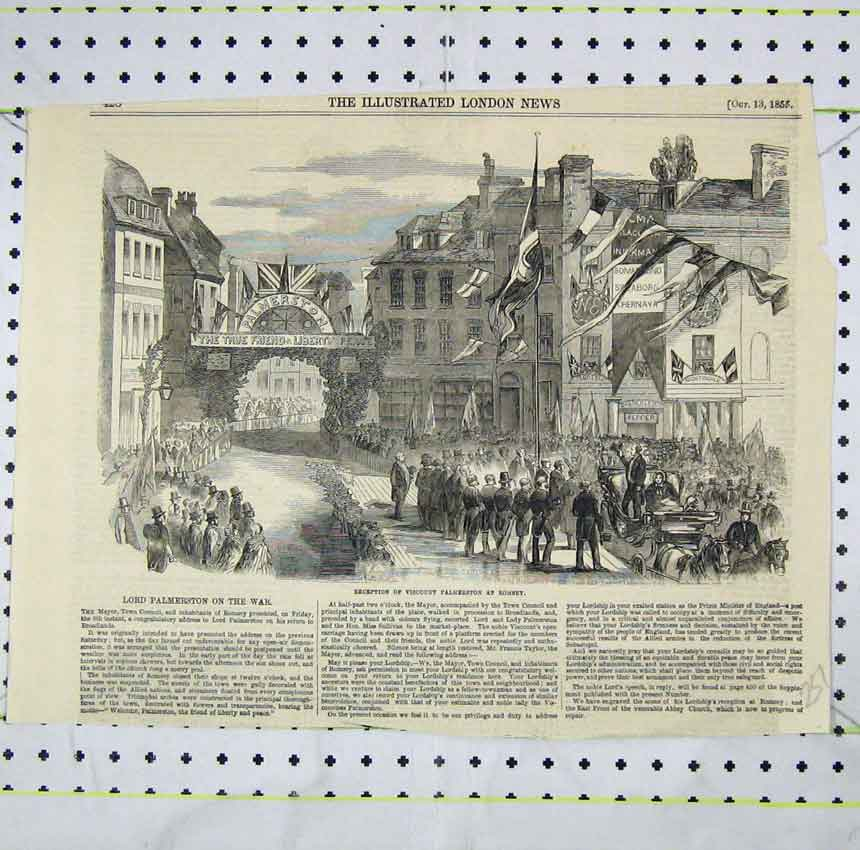 Print 1855 Street Scene Reception Viscount Palmerston Romsey 251B248 Old Original