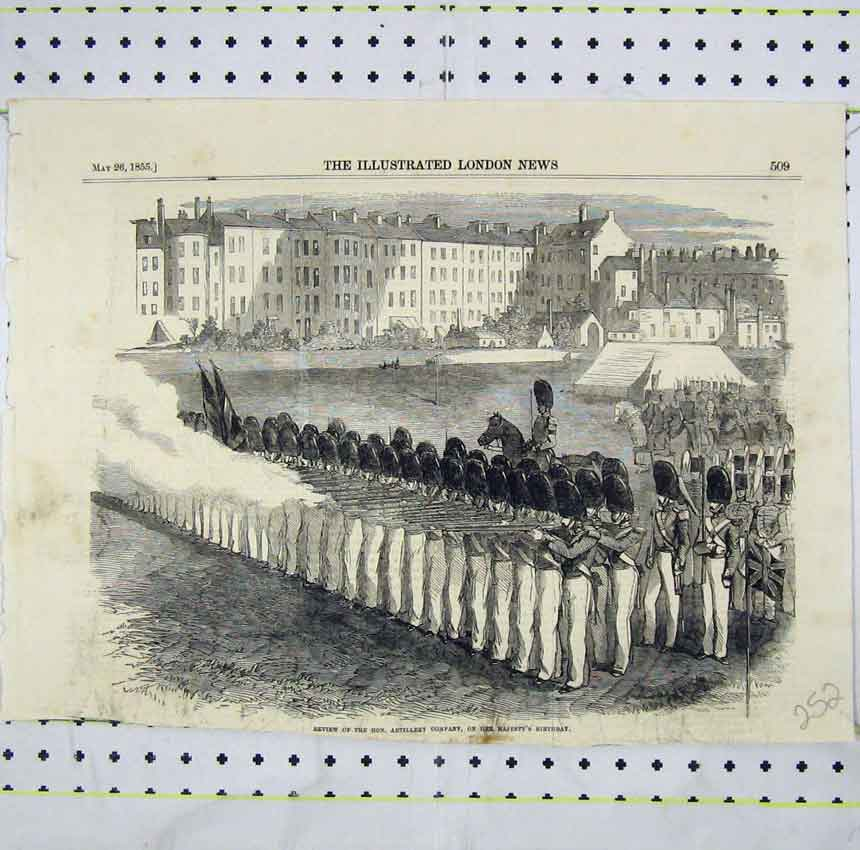 Print 1855 Review Hon. Artillery Company Queens Birthday 252B248 Old Original