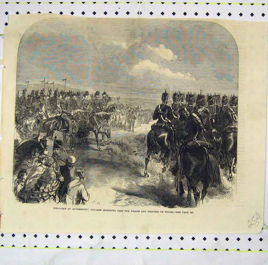 Print Field-Day Aldershot Cavlary Marching Princess Wales 254B248 Old Original