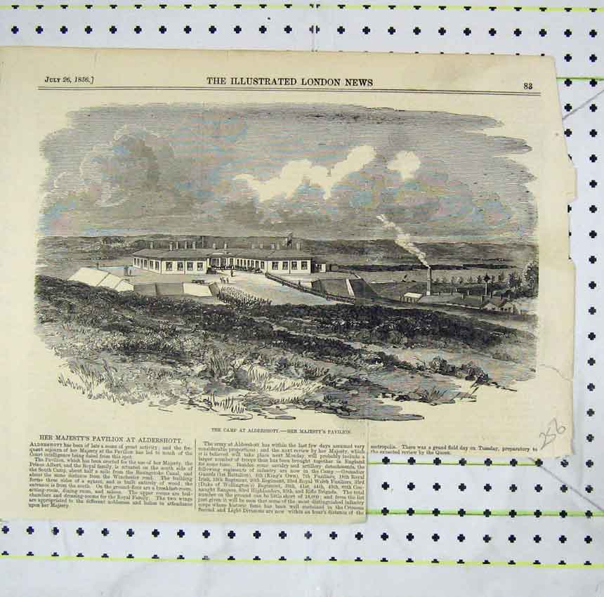 Print 1856 View Army Camp Aldershot Majesty Queen Pavilion 256B248 Old Original