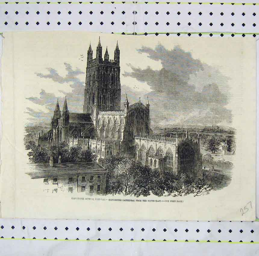 Print Gloucestee Musical Festival Gloucester Cathedral 257B248 Old Original
