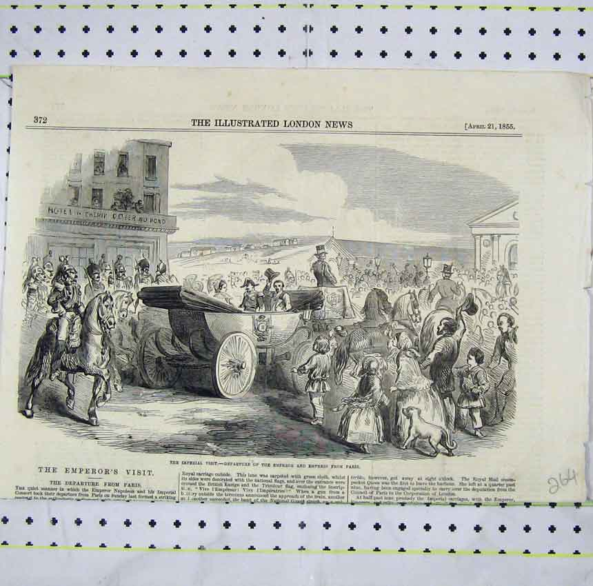 Print 1855 Imperial Visit Emperor Empress Paris Departure 264B248 Old Original
