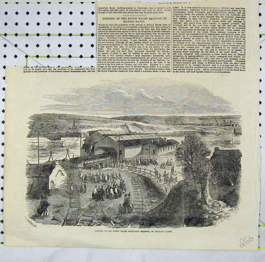 Print Scene Opening South Wales Extension Railway Milford 266B248 Old Original