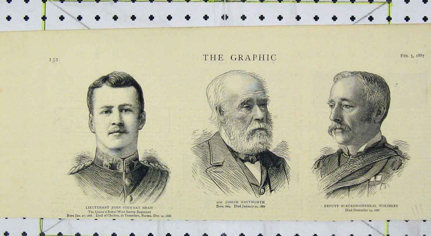 Print 1887 Portrait John Shaw Joseph Whitworth Wolseley 111B249 Old Original