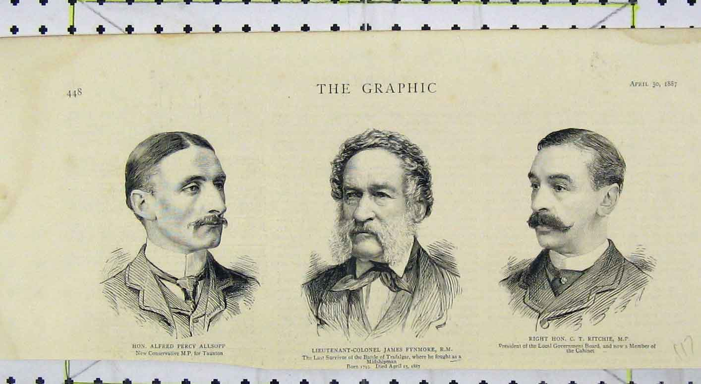 Print Portrait Alfred Allsopp 1887 James Fynmore Ritchie 117B249 Old Original