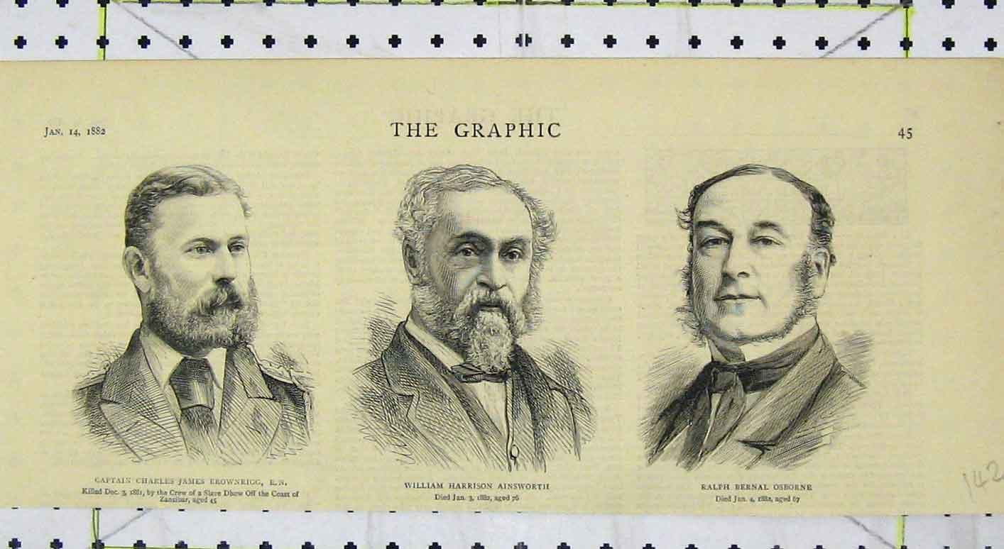 Print 1882 Portrait Charles Brownrigg Ainsworth Osborne 142B249 Old Original