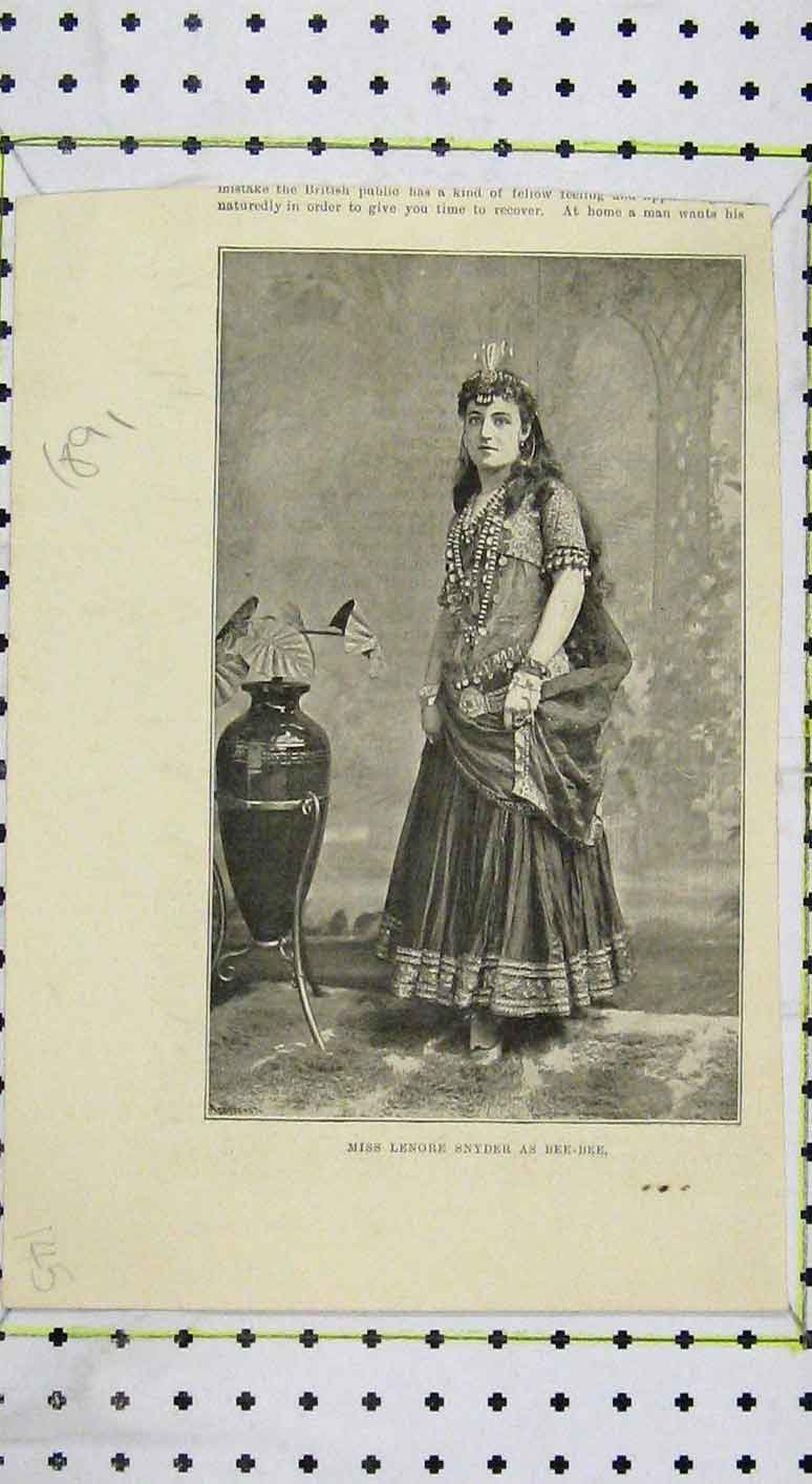 Print Portrait Miss Lenore Snyder Bee Theatre 145B249 Old Original