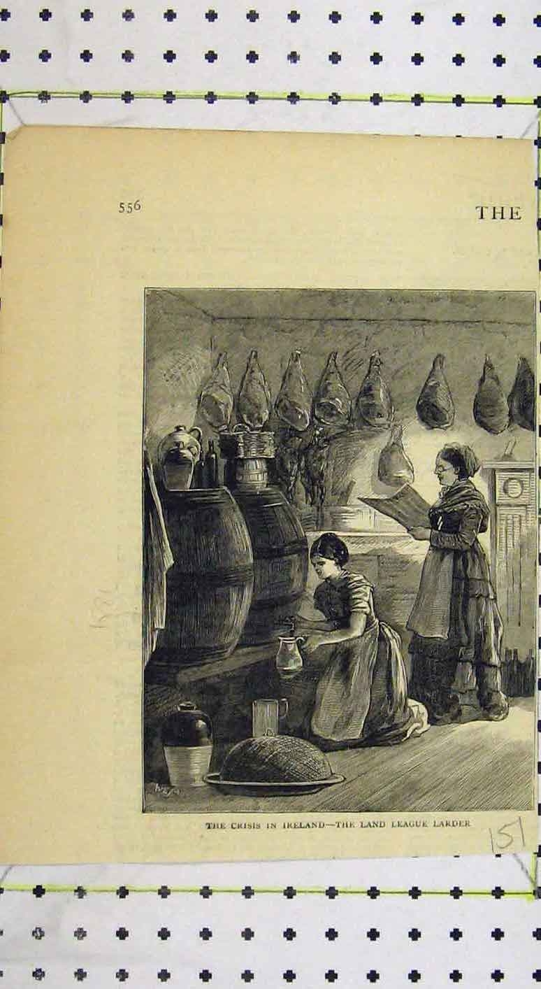 Print Crisis Ireland Scene Land League Larder 151B249 Old Original