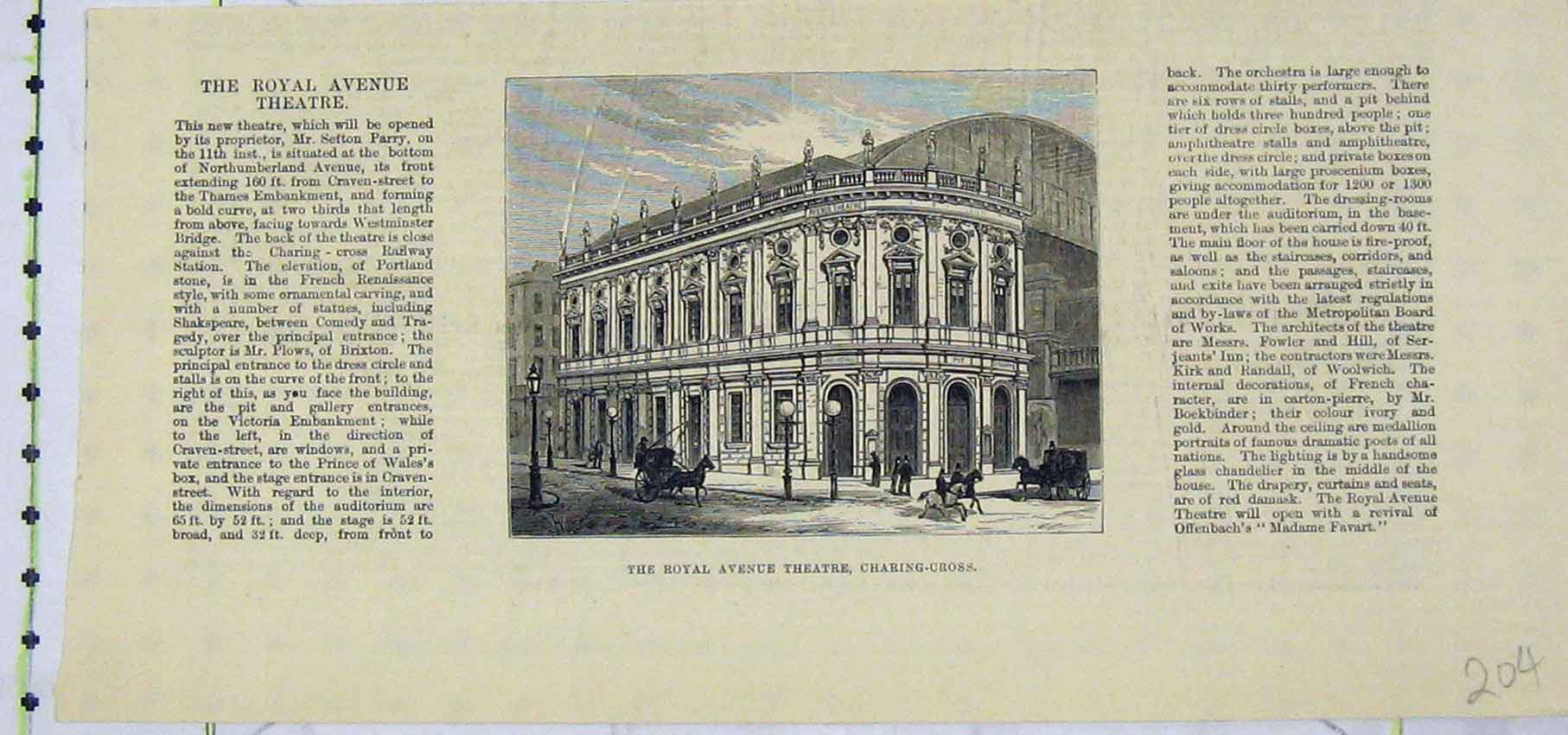Print View Royal Avenue Theatre Charring Cross 204B250 Old Original