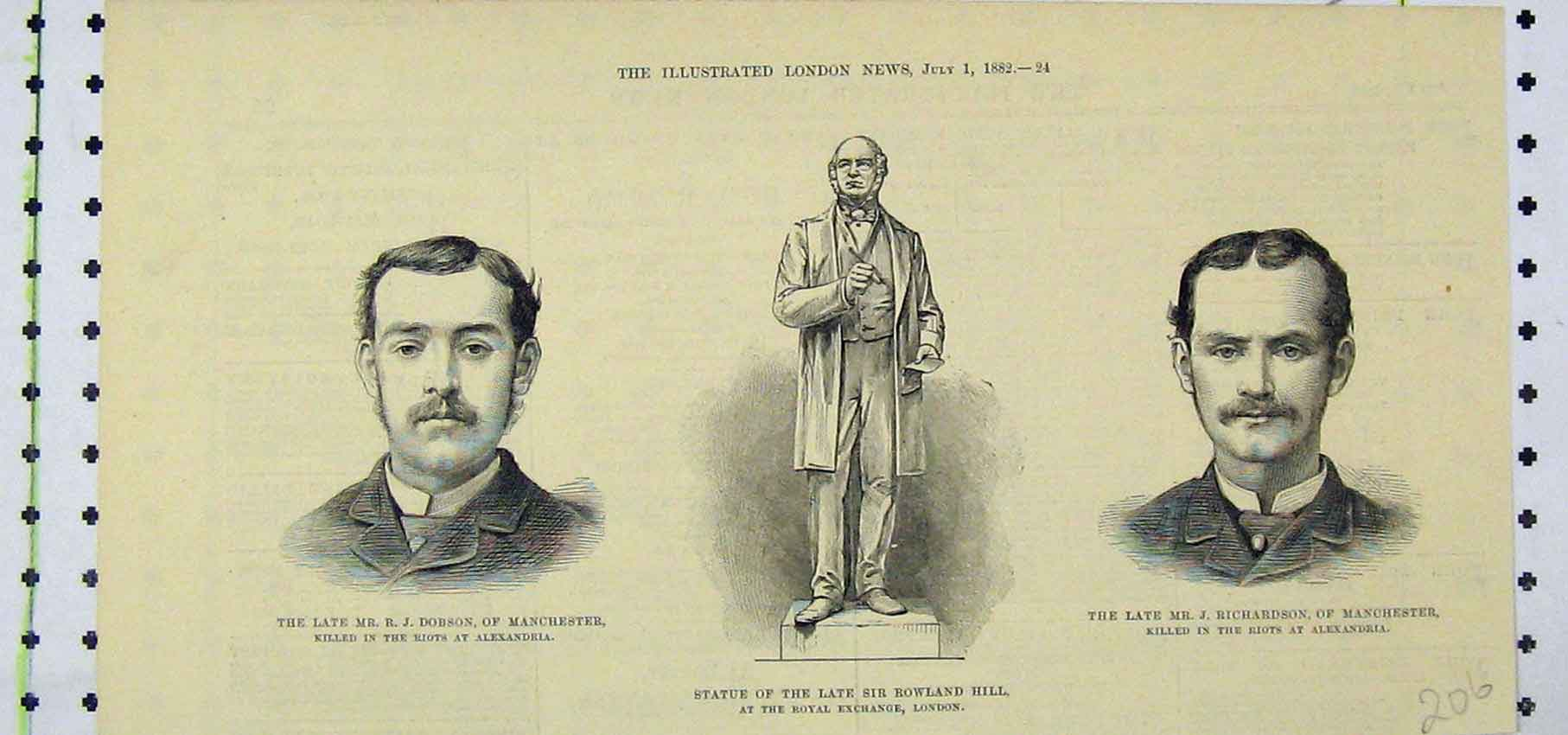 Print 1882 Portrait Dobson Statue Rowland Hill Richardson 206B250 Old Original