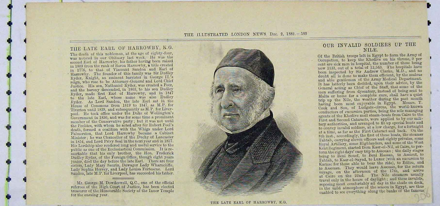 Print Portrait Earl Harrowby 1882 Nobleman 208B250 Old Original