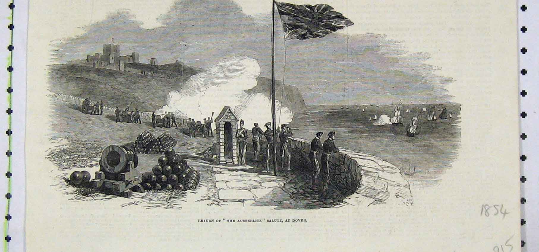 Print 1854 View Return Austerlitz Salute Dover 215B250 Old Original