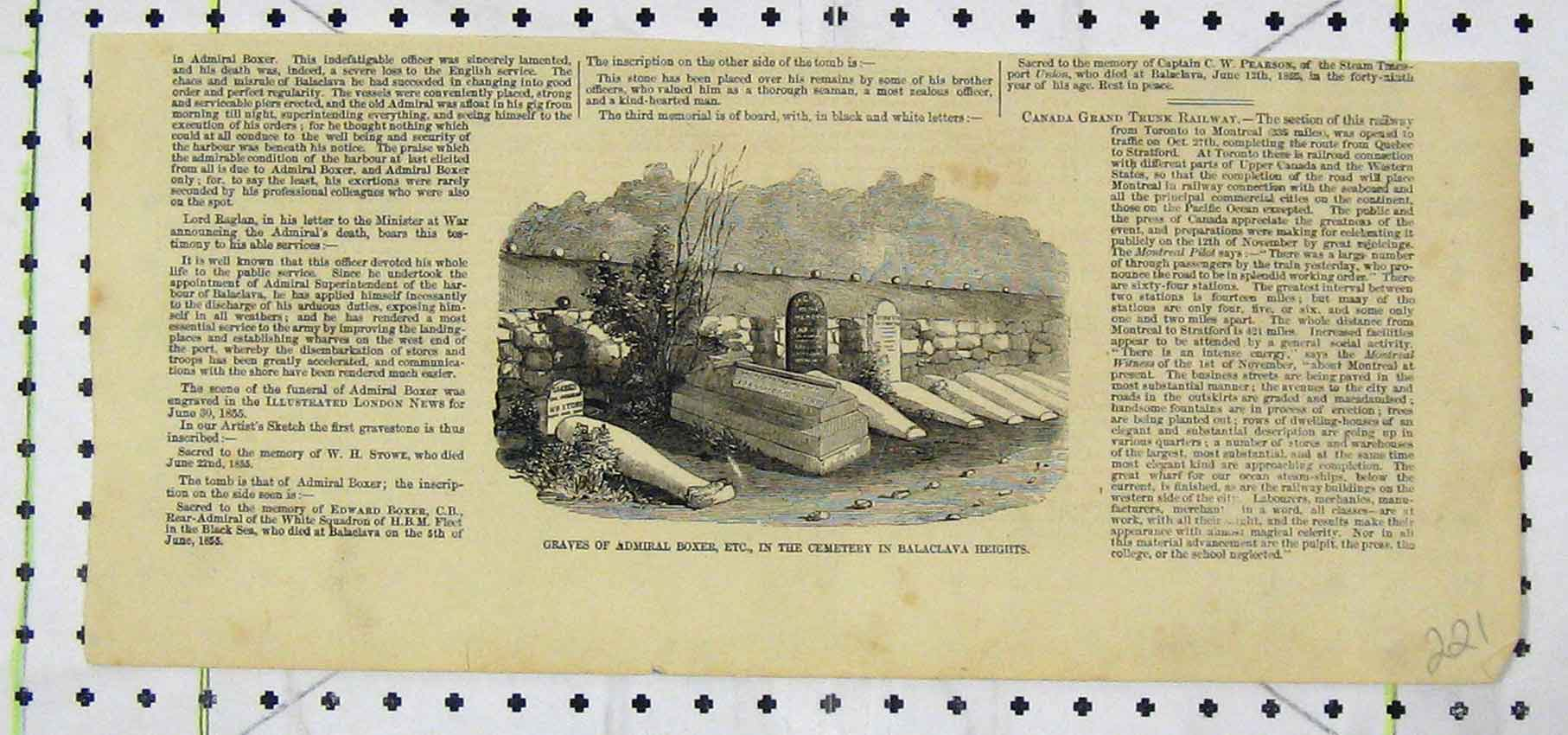 Print Graves Admiral Boxer Cemetry Balaclava Heights 221B250 Old Original