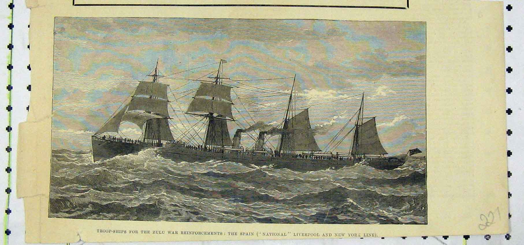 Print Troop-Ships Zulu War Spain National Liverpool New York 227B250 Old Original