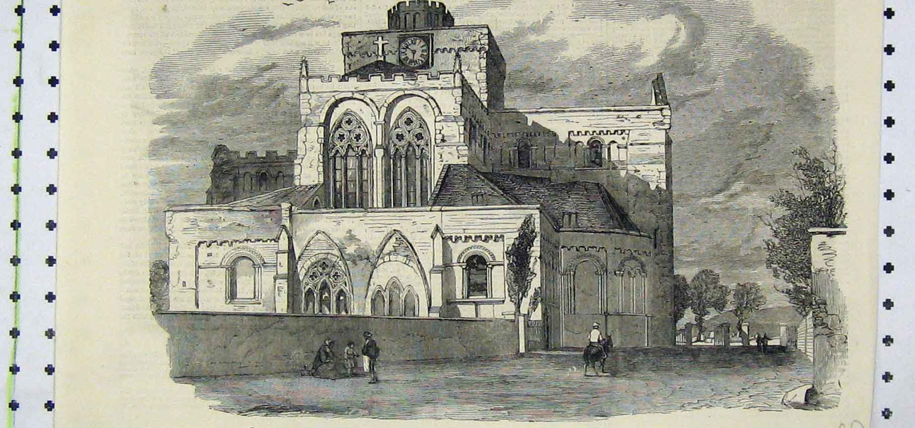 Print East Front View Abbey Church Romsey 230B250 Old Original