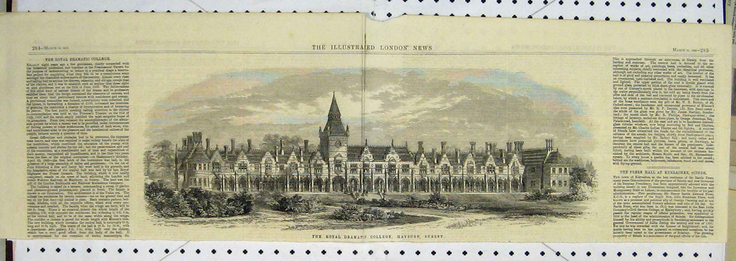 Print 1866 View Royal Dramatic College Surrey 102B251 Old Original