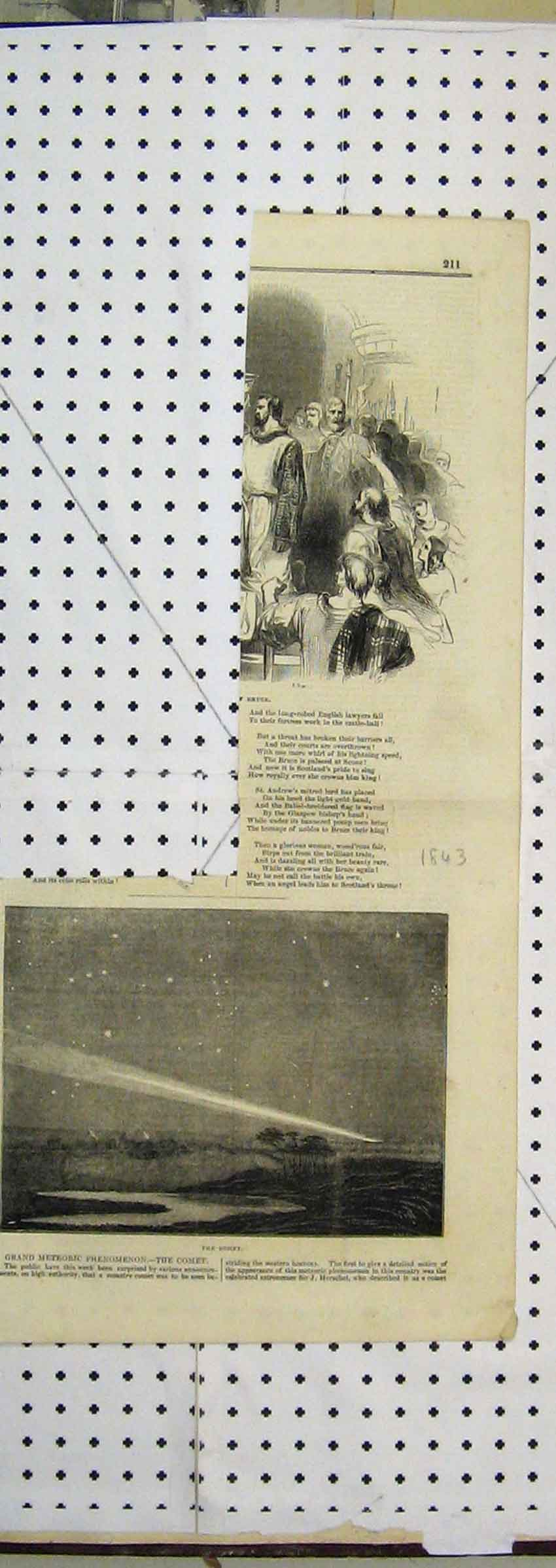 Print 1843 Night Sky View Comet Meteoric 107B251 Old Original